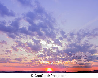 sunset scene wallpaper background, colorful sky with soft