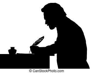 Vintage Silhouette of bearded man writing with feather at table