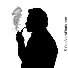 Silhouette of bearded man smoking pipe thinking - Silhouette...