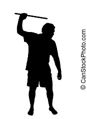 Silhouette of man applying corporal punishment with cane -...