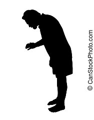 Full length side profile portrait silhouette of a man...