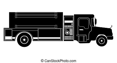 Isolated firetruck silhouette - Isolated silhouette of a...