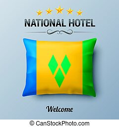 National Hotel - Realistic Pillow and Flag of Saint Vincent...