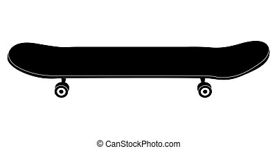 Isolated skateboard silhouette