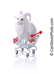 Model ram in shopping cart isolated on white Shopping for...