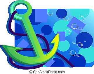 Anchor with rope - Illustration of an anchor isolated with...