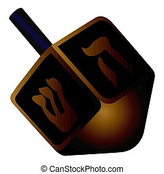 Isolated jewish dreidel on a white background, Vector...