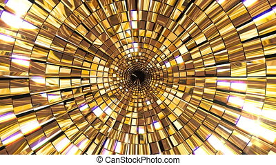 Golden Shine Circle Mosaic - 4K golden shine abstract stage...