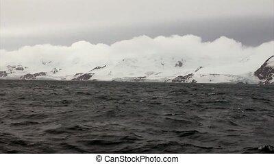 Snow mountain panorama of Falkland Islands Antarctica....