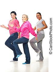 grupo, mujeres, condición física