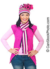 Attractive model woman in pink knitted clothes