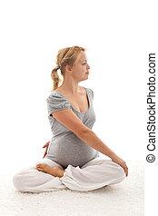 hermoso, embarazada, mujer, ejercicios