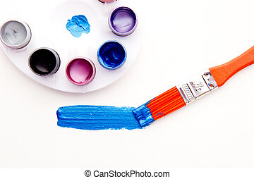 Art - Paint, palette and brush on white background