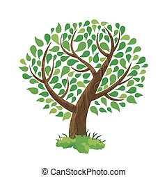Green tree concept illustration hand drawn style - Hand...