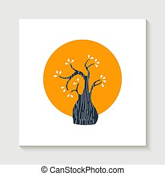 Simple cute tree shape illustration concept - Concept cute...