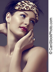 woman with red lips - beautiful woman with red lips and...