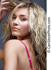 beautiful natural woman - beautiful blond young woman with...