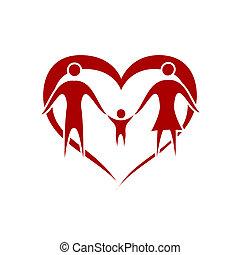 Family - family vector with heart symbol