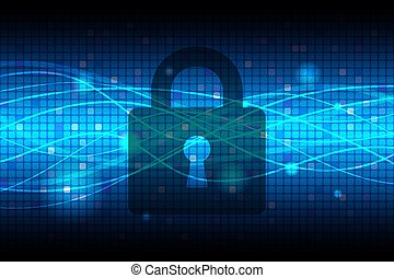 Technology Security Blue Abstract Background Vector...