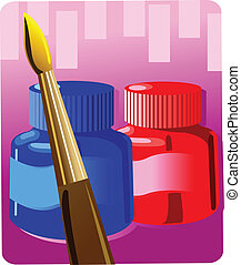 Water colour and brush - Illustration of two bottle water...