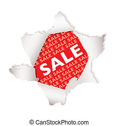 Sale paper explode - Red background sale tag with exploding...