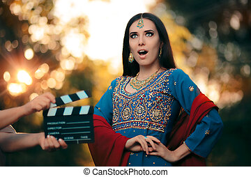 Surprised Bollywood Actress Wearing an Indian Outfit and...
