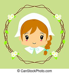 Cute Milkmaid Vector - cute milkmaid lady, with circle...