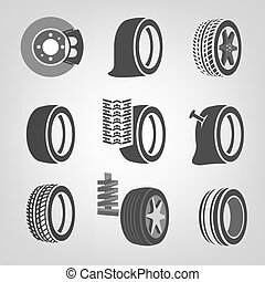 Tire shop icons - Beautiful vector illustration of a tire...