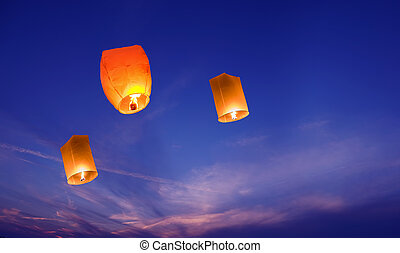 Lanterns in the sky closeup