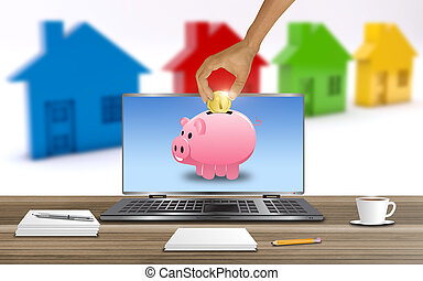 House finance concept 3D Illustration - Saving to buy a...