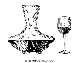 Decanter and wine engraving style vector - Decanter and wine...