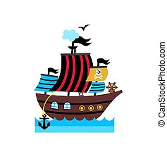 Pirate isolated icon with vessel