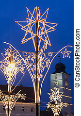 christmas market decoration in main square of old town Sibiu...