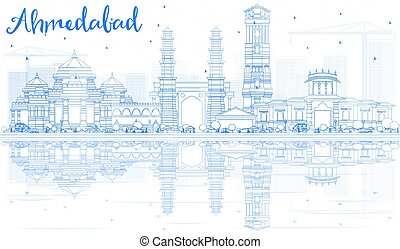 Outline Ahmedabad Skyline with Blue Buildings and...