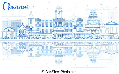 Outline Chennai Skyline with Blue Landmarks and Reflections....