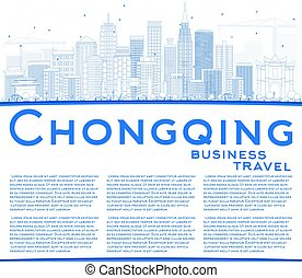 Outline Chongqing Skyline with Blue Buildings and Copy Space.