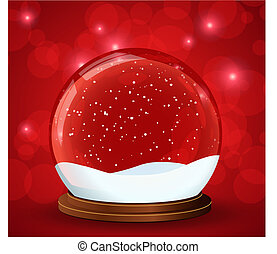 christmas snow globe with glittering lights