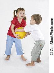 niños, juego, Pelota, conflicto, situación