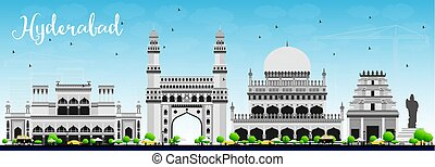 Hyderabad Skyline with Gray Landmarks and Blue Sky. Vector...