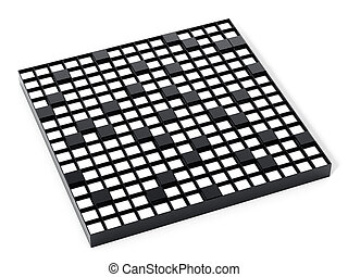 Crossword puzzle isolated on white background. 3D illustration