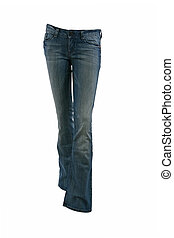 Blue jeans trousers on a mannequin isolated on white