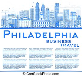 Outline Philadelphia Skyline with Blue Buildings and Copy...