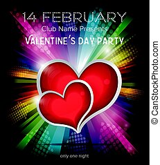 Two red hearts on rainbow background - Happy Valentines Day...
