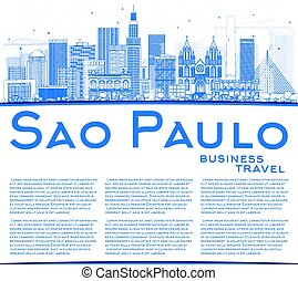 Outline Sao Paulo Skyline with Blue Buildings and Copy Space.