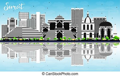 Surat Skyline with Gray Buildings, Blue Sky and Reflections....
