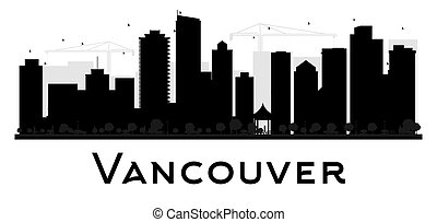 Vancouver City skyline black and white silhouette.