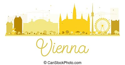 Vienna City skyline golden silhouette.