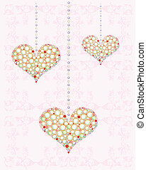 greeting card with diamond hearts
