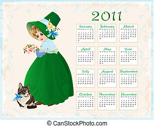 vintage  style  calendar 2011 with cat and girl