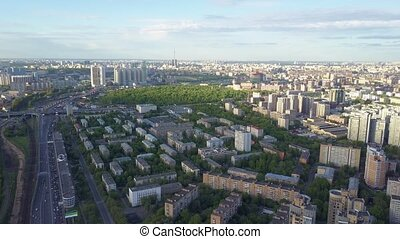 High altitude aerial shot of Moscow cityscape, view to...